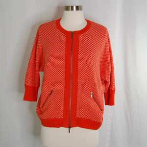 {cAbi} Orange Cocoon Front Zip Sweater Size Medium